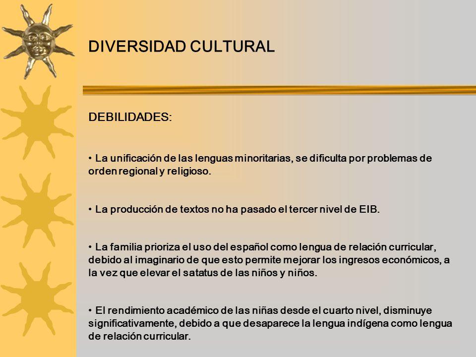 DIVERSIDAD CULTURAL DEBILIDADES: