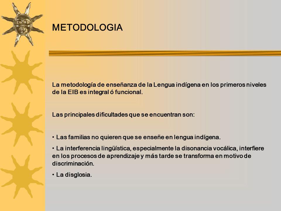 METODOLOGIA La metodología de enseñanza de la Lengua indígena en los primeros niveles de la EIB es integral ó funcional.