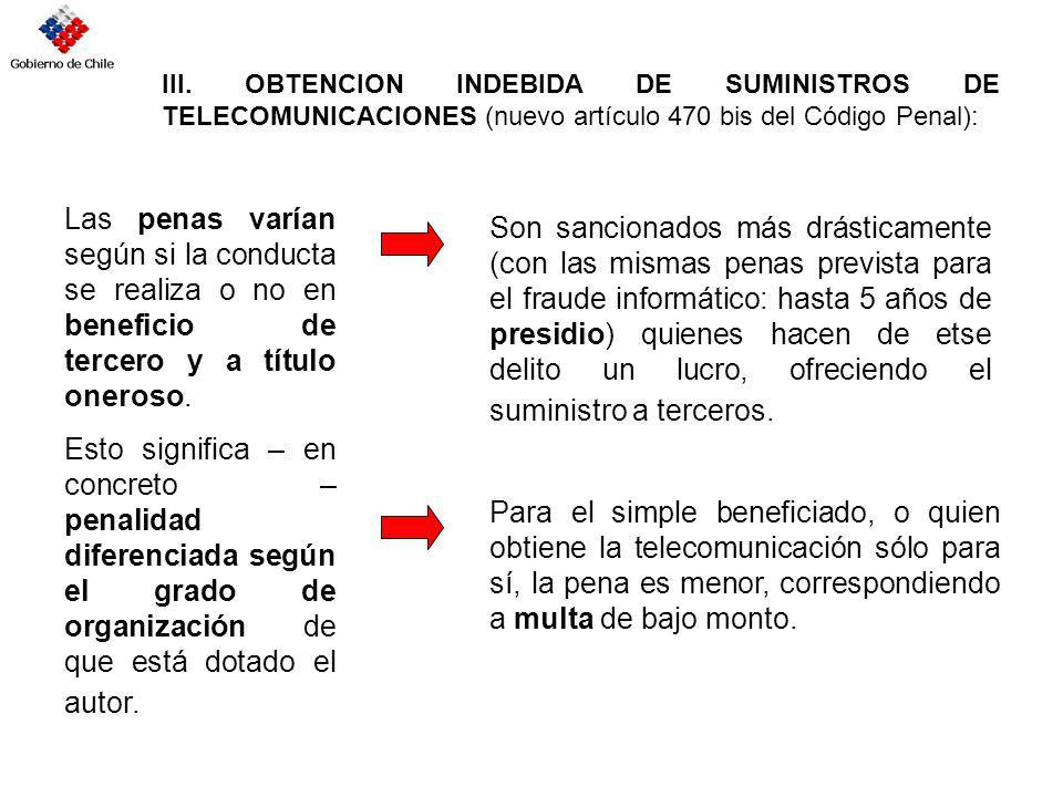 III. OBTENCION INDEBIDA DE SUMINISTROS DE TELECOMUNICACIONES (nuevo artículo 470 bis del Código Penal):