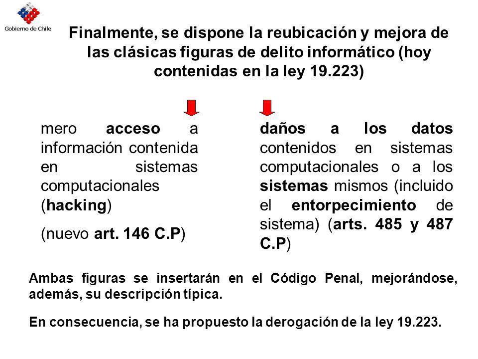 Finalmente, se dispone la reubicación y mejora de las clásicas figuras de delito informático (hoy contenidas en la ley 19.223)