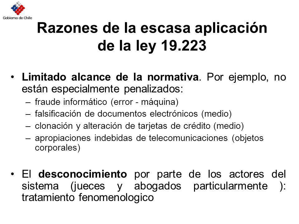 Razones de la escasa aplicación de la ley 19.223