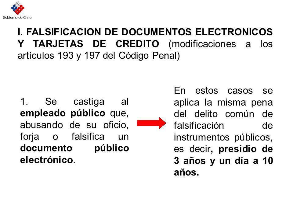 I. FALSIFICACION DE DOCUMENTOS ELECTRONICOS Y TARJETAS DE CREDITO (modificaciones a los artículos 193 y 197 del Código Penal)
