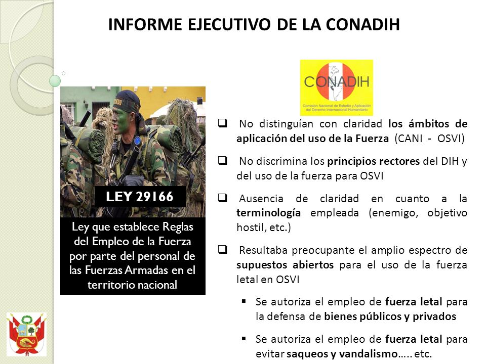 INFORME EJECUTIVO DE LA CONADIH