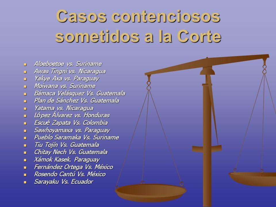 Casos contenciosos sometidos a la Corte