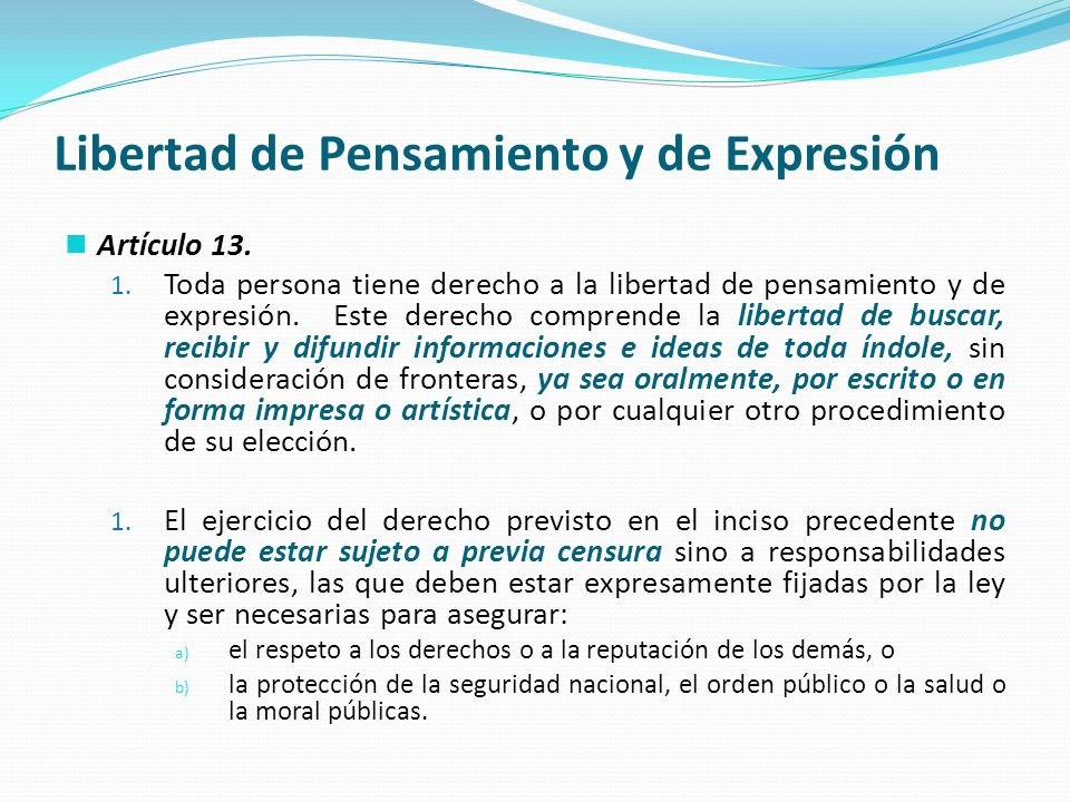 Libertad de Pensamiento y de Expresión