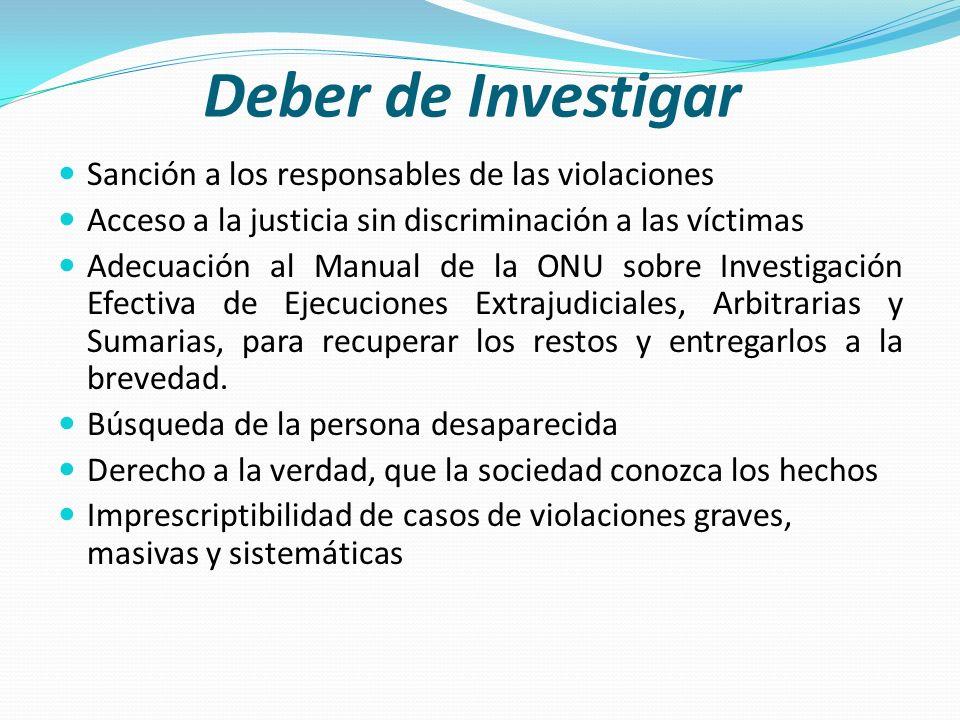 Deber de Investigar Sanción a los responsables de las violaciones