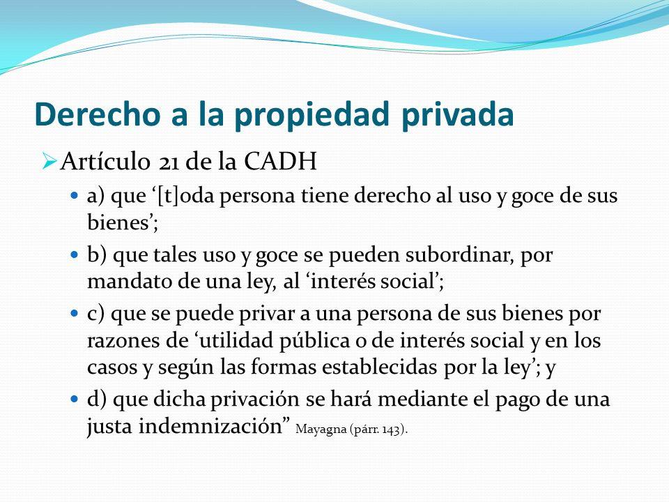 Derecho a la propiedad privada