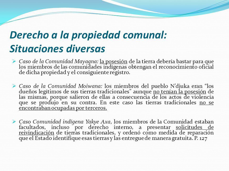 Derecho a la propiedad comunal: Situaciones diversas