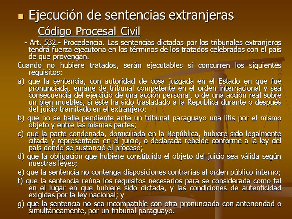 Ejecución de sentencias extranjeras Código Procesal Civil