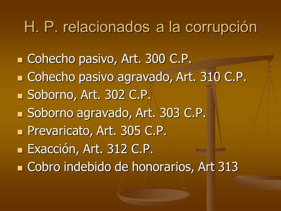 H. P. relacionados a la corrupción