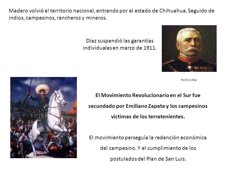Díaz suspendió las garantías individuales en marzo de 1911.