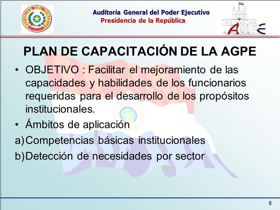 PLAN DE CAPACITACIÓN DE LA AGPE