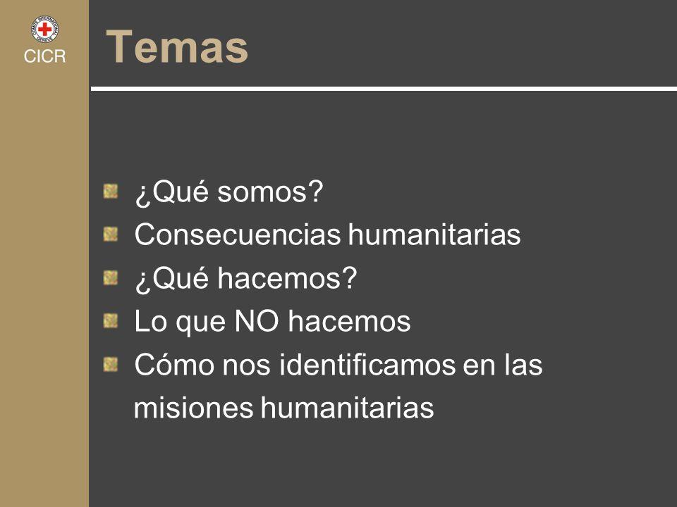 Temas ¿Qué somos Consecuencias humanitarias ¿Qué hacemos