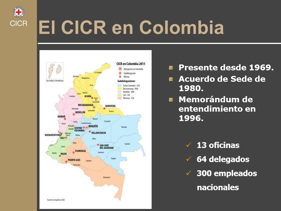 El CICR en Colombia Presente desde 1969. Acuerdo de Sede de 1980.