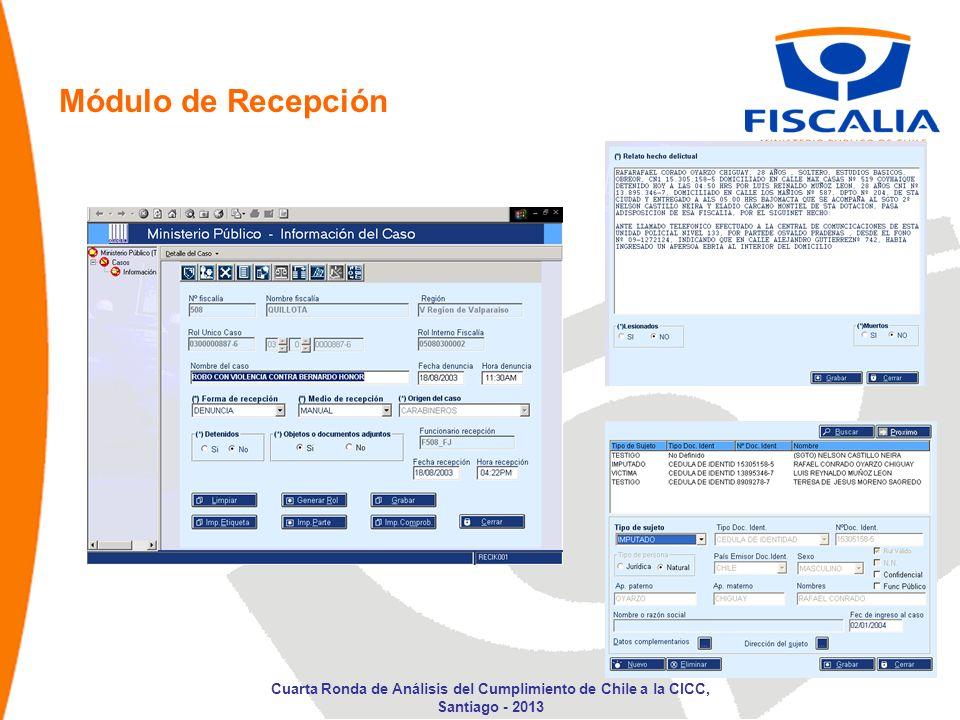 Módulo de Recepción Cuarta Ronda de Análisis del Cumplimiento de Chile a la CICC, Santiago - 2013
