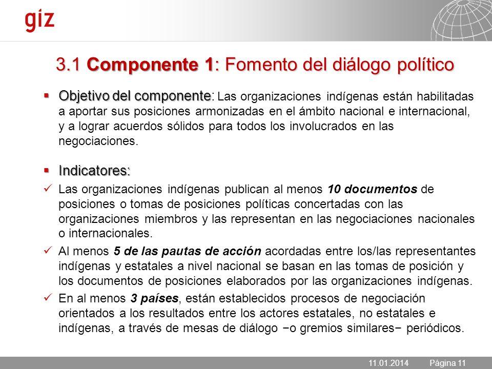 3.1 Componente 1: Fomento del diálogo político