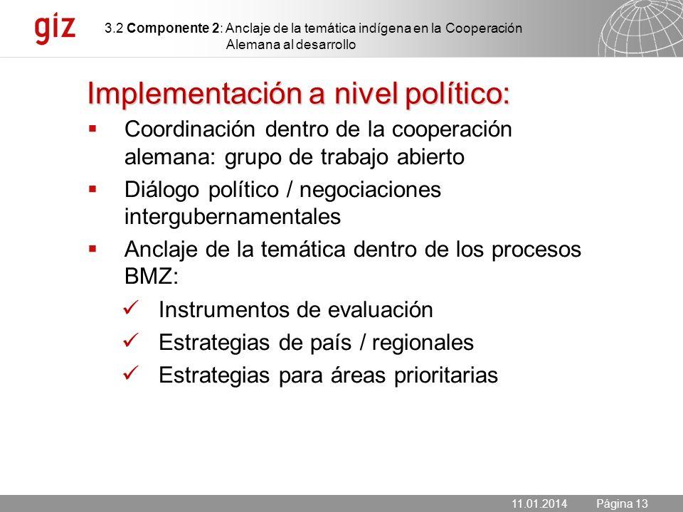 Implementación a nivel político: