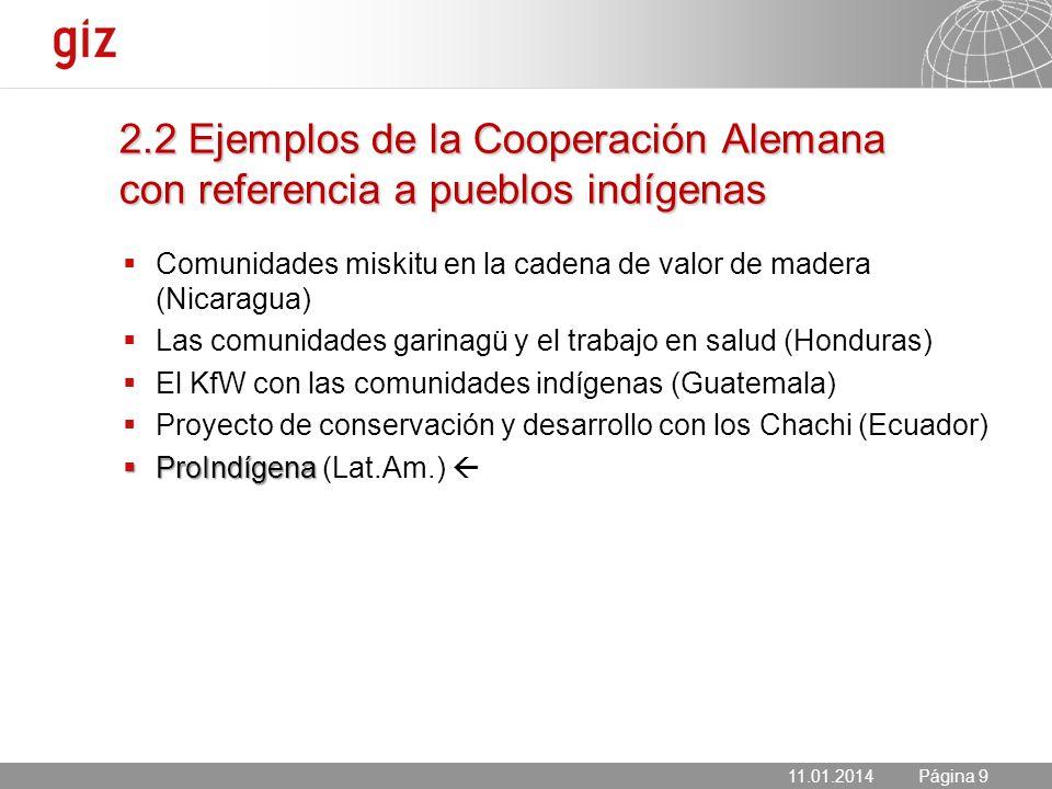 2.2 Ejemplos de la Cooperación Alemana con referencia a pueblos indígenas