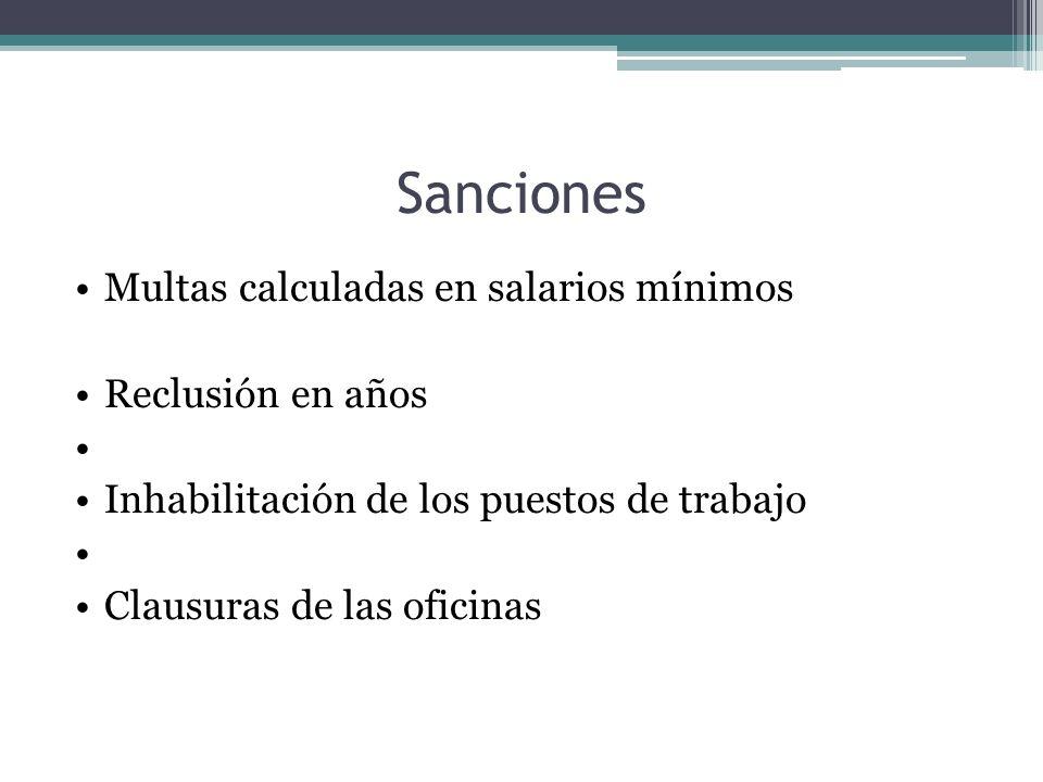 Sanciones Multas calculadas en salarios mínimos Reclusión en años