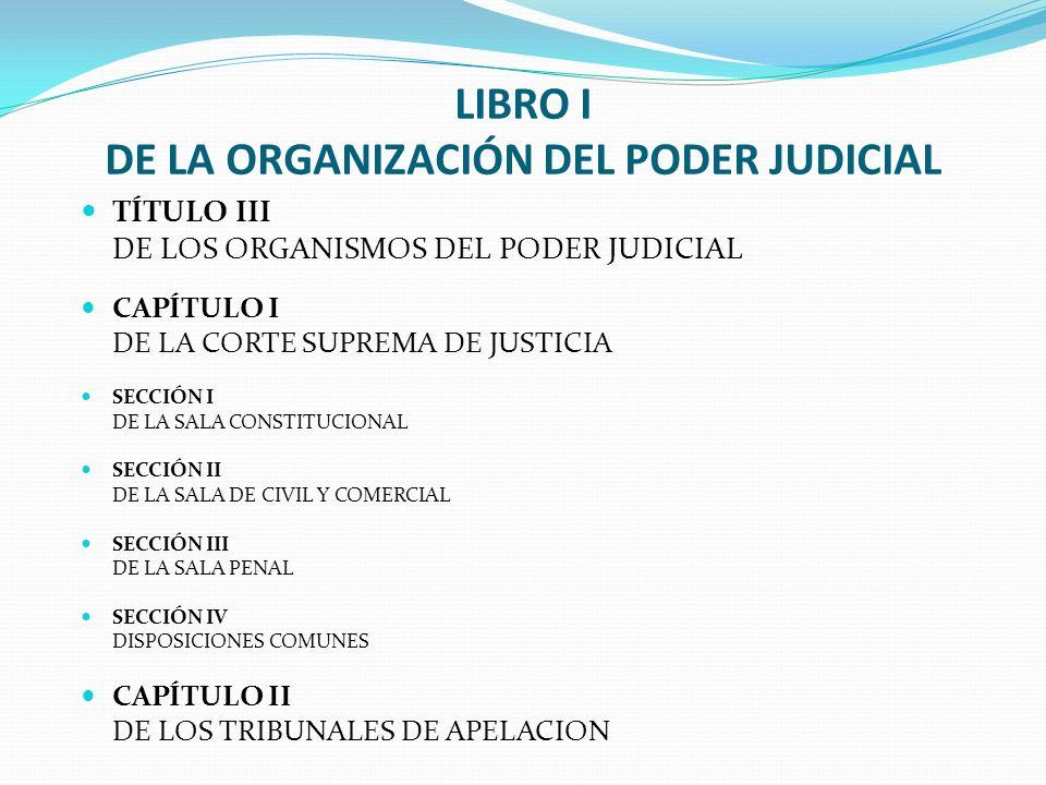 LIBRO I DE LA ORGANIZACIÓN DEL PODER JUDICIAL