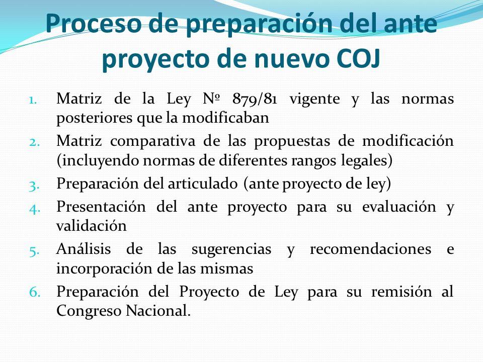 Proceso de preparación del ante proyecto de nuevo COJ