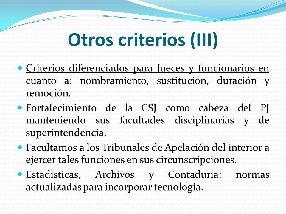 Otros criterios (III) Criterios diferenciados para Jueces y funcionarios en cuanto a: nombramiento, sustitución, duración y remoción.
