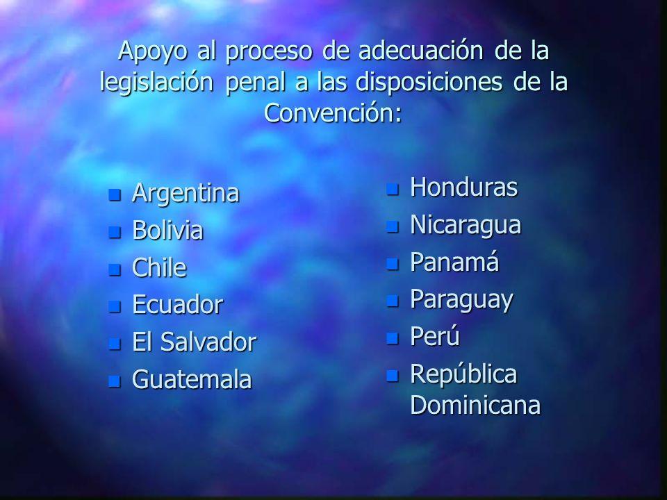 Apoyo al proceso de adecuación de la legislación penal a las disposiciones de la Convención: