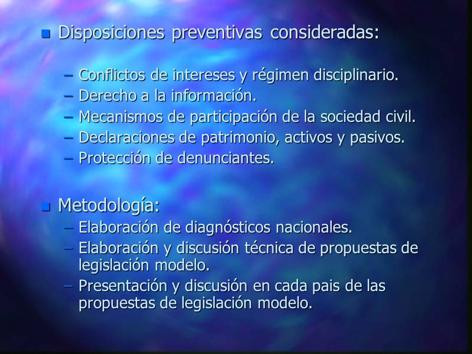 Disposiciones preventivas consideradas:
