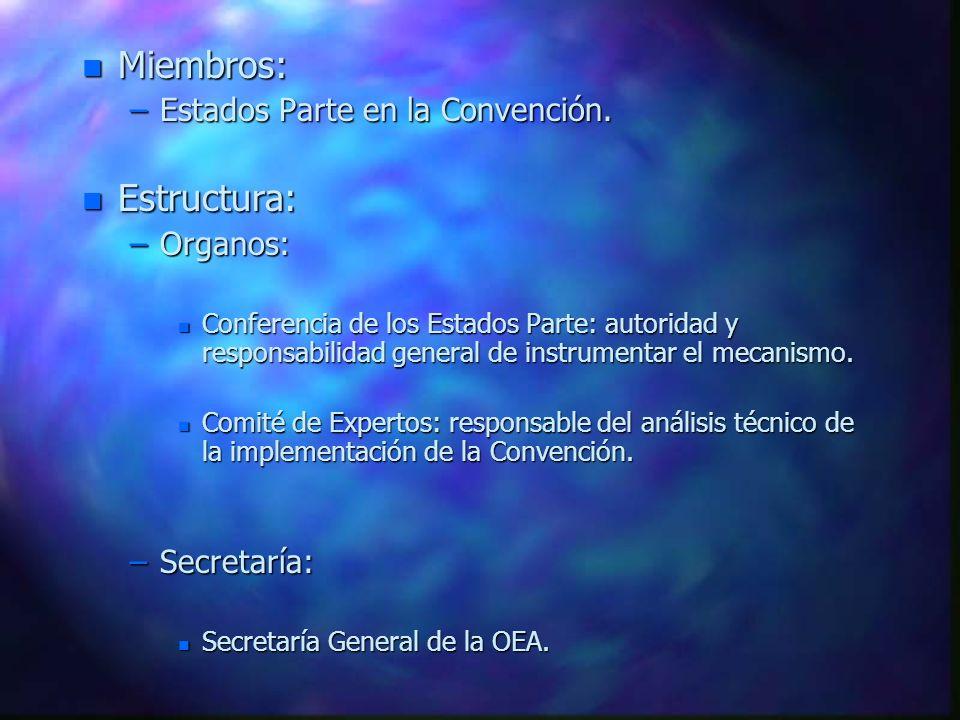 Miembros: Estructura: Estados Parte en la Convención. Organos: