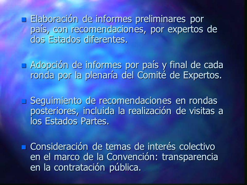 Elaboración de informes preliminares por país, con recomendaciones, por expertos de dos Estados diferentes.
