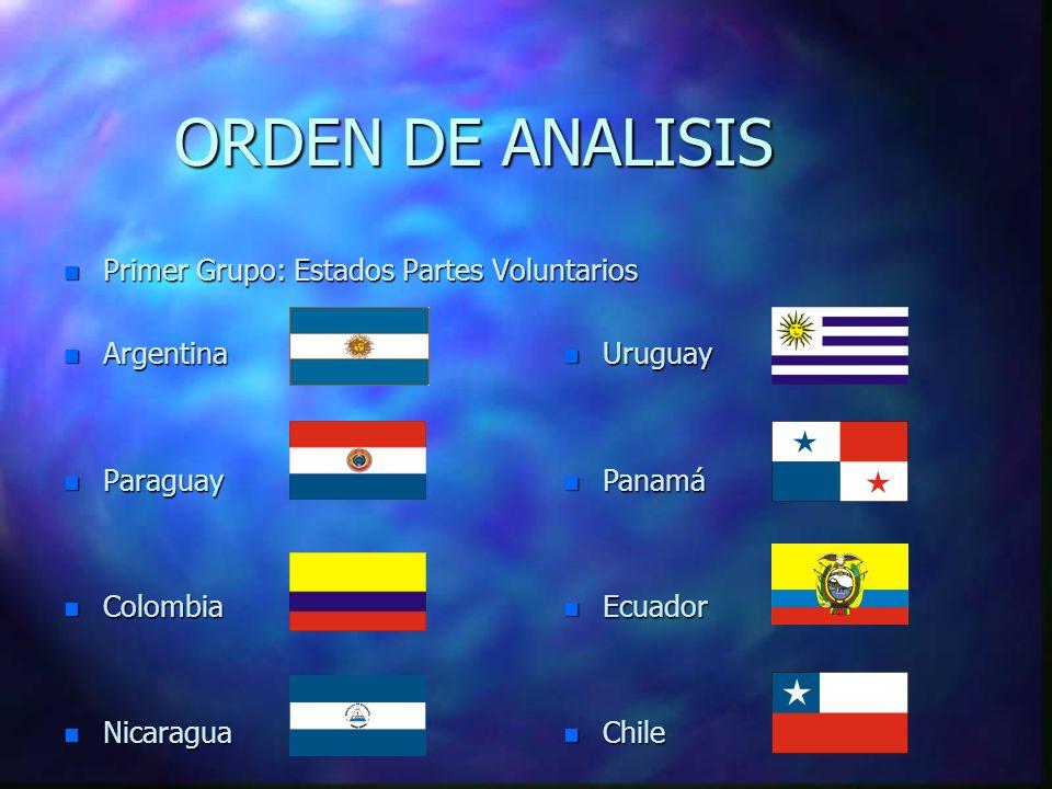 ORDEN DE ANALISIS Primer Grupo: Estados Partes Voluntarios Argentina