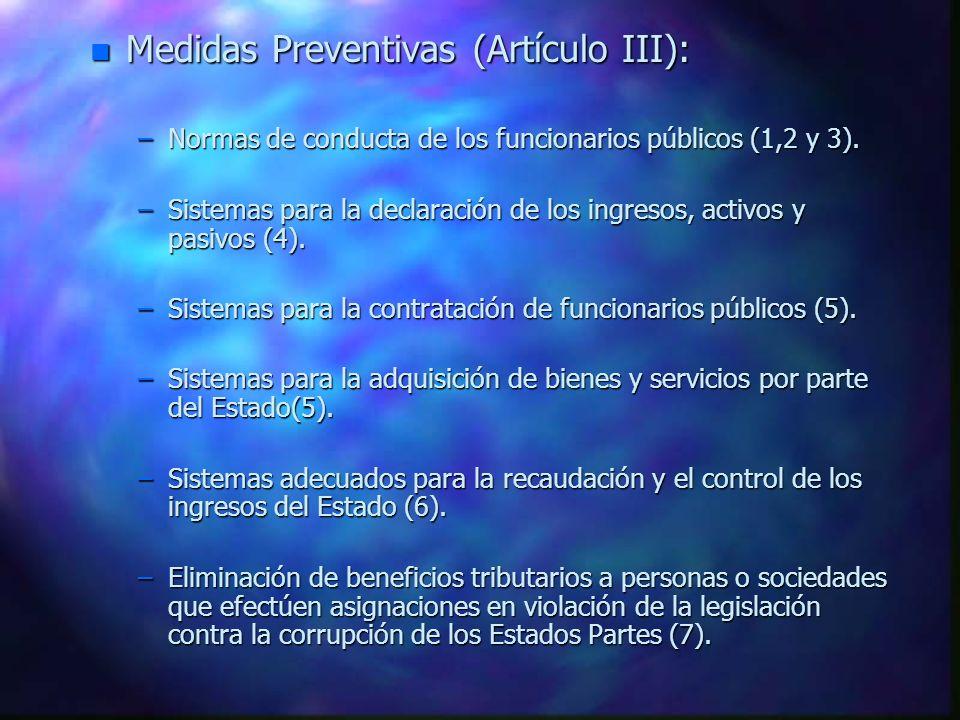 Medidas Preventivas (Artículo III):