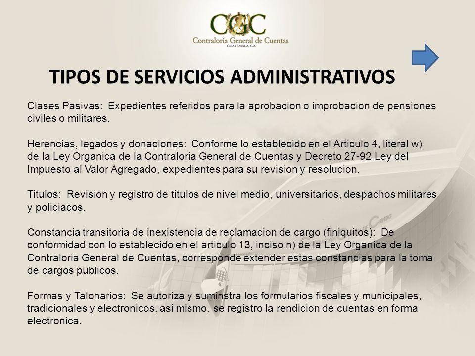 TIPOS DE SERVICIOS ADMINISTRATIVOS
