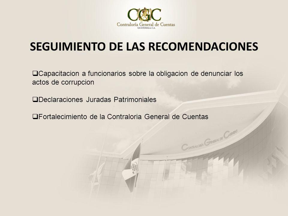 SEGUIMIENTO DE LAS RECOMENDACIONES