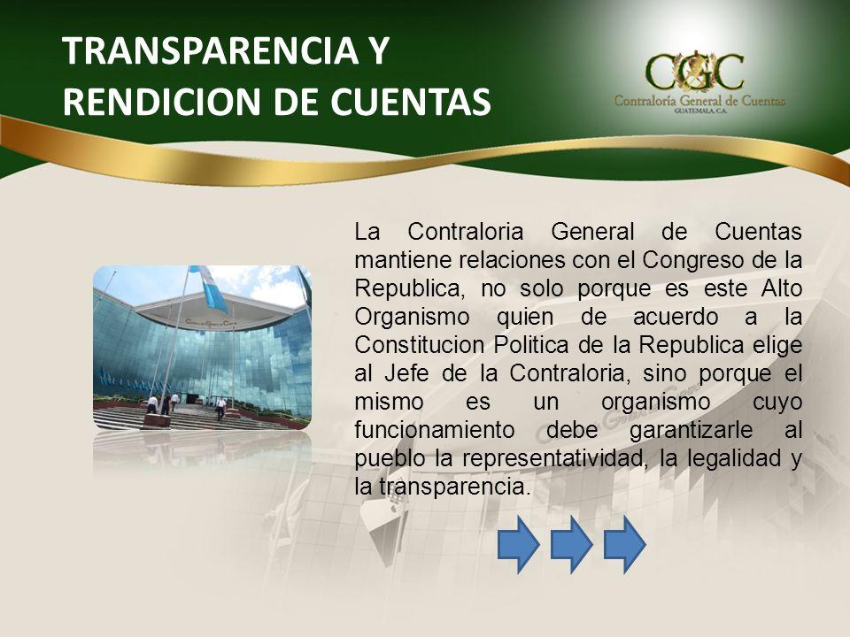 TRANSPARENCIA Y RENDICION DE CUENTAS