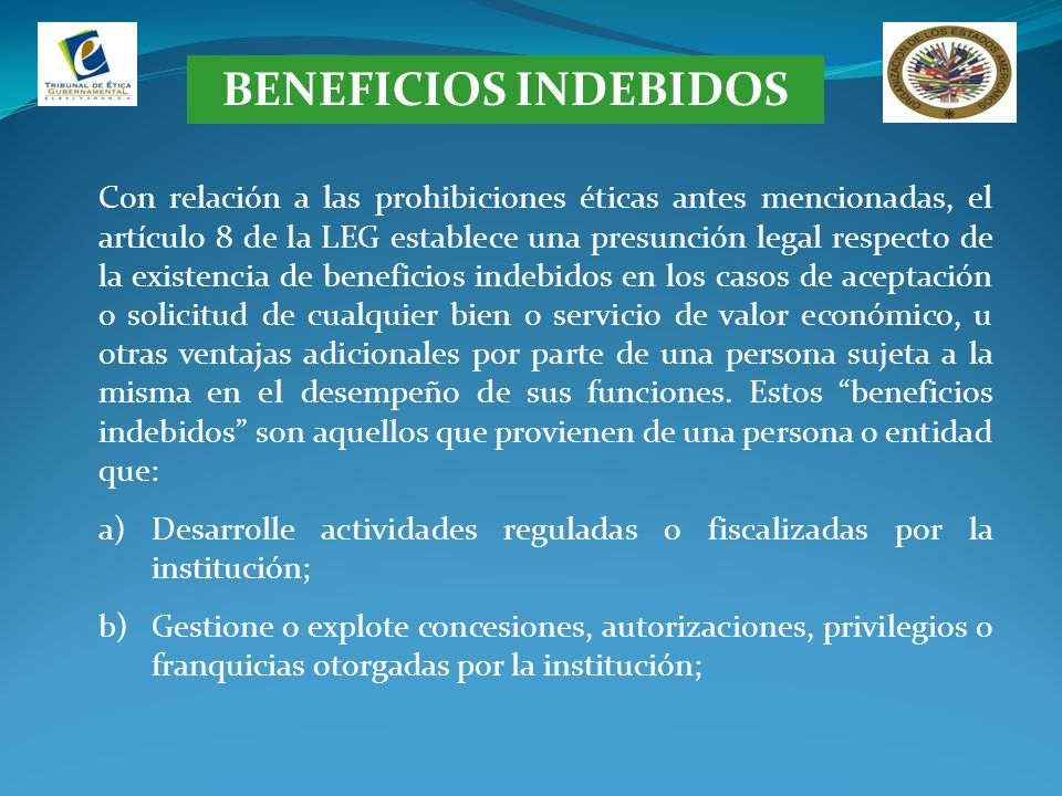 BENEFICIOS INDEBIDOS