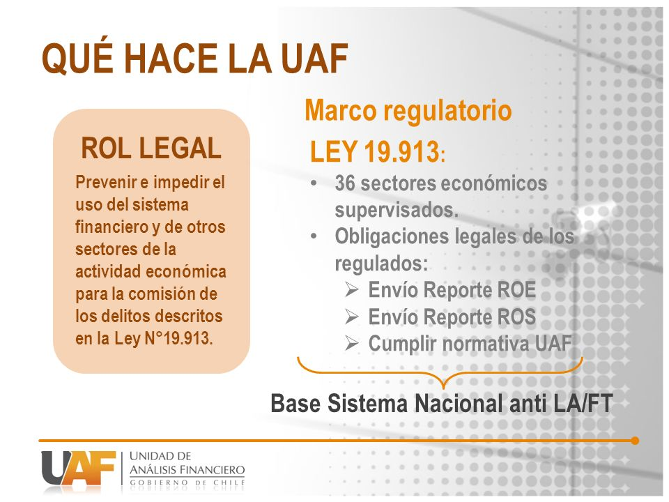 QUÉ HACE LA UAF Marco regulatorio ROL LEGAL LEY 19.913: