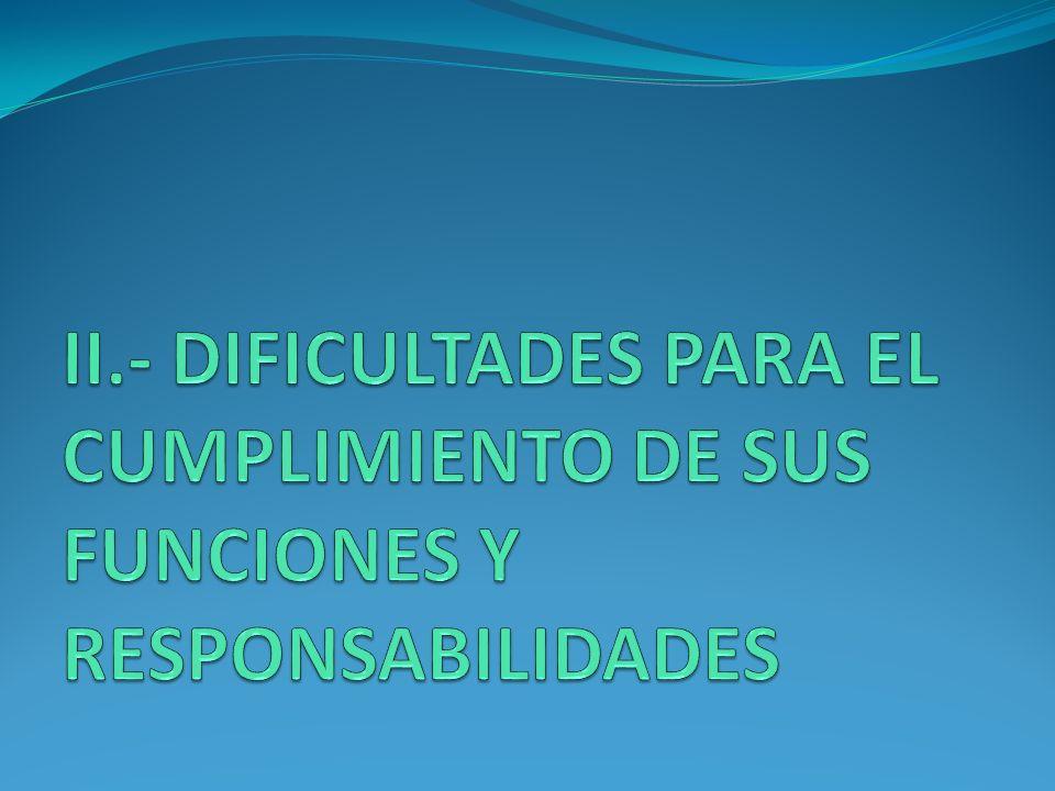 II.- DIFICULTADES PARA EL CUMPLIMIENTO DE SUS FUNCIONES Y RESPONSABILIDADES