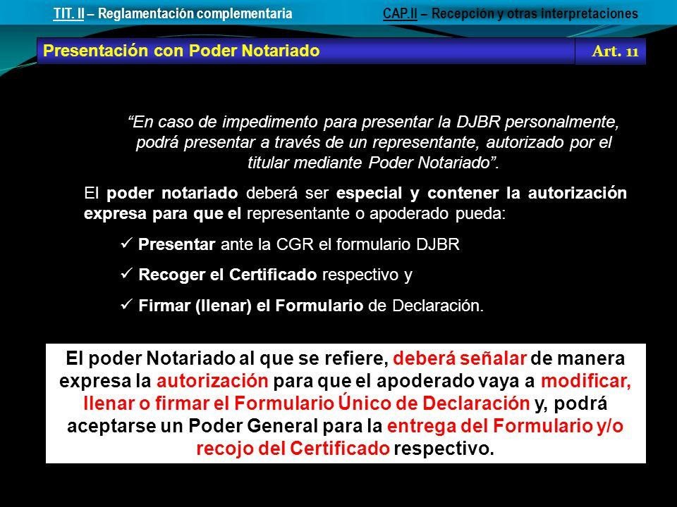 TIT. II – Reglamentación complementaria