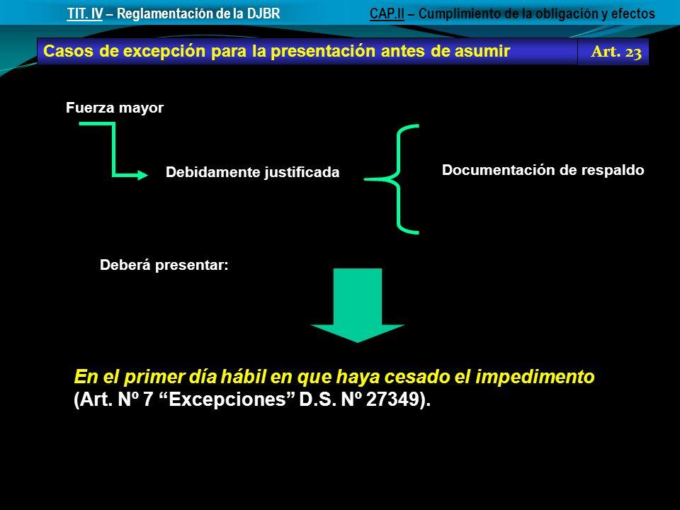 TIT. IV – Reglamentación de la DJBR