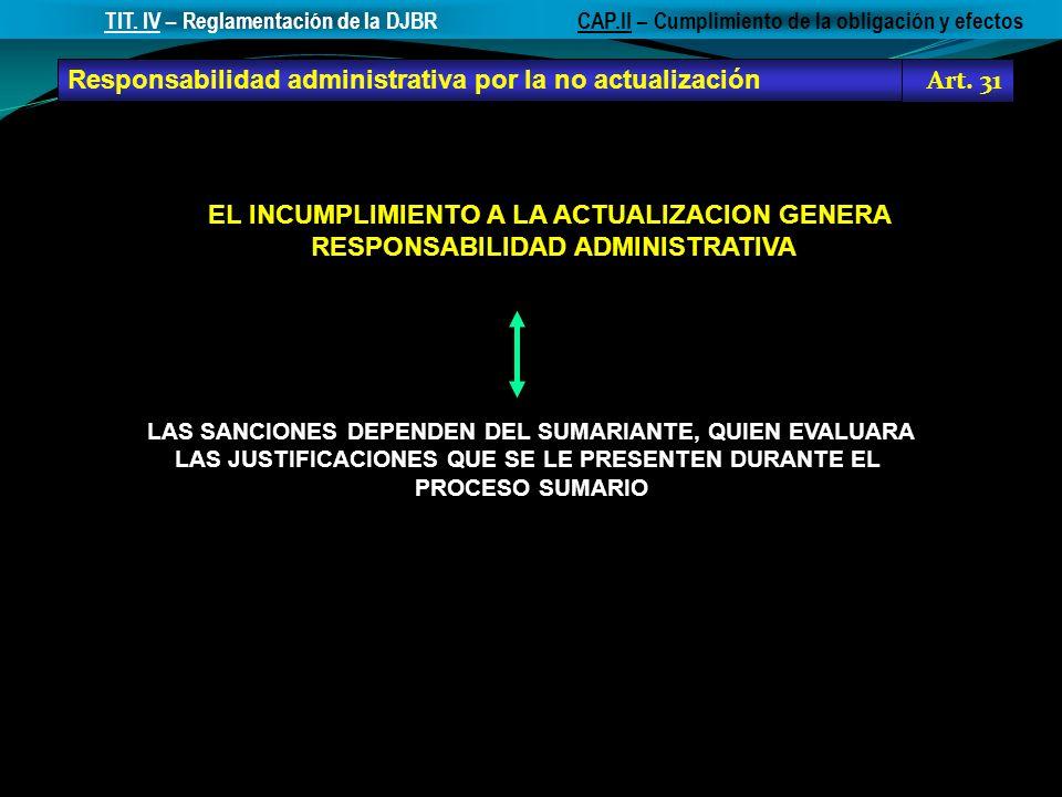Responsabilidad administrativa por la no actualización Art. 31