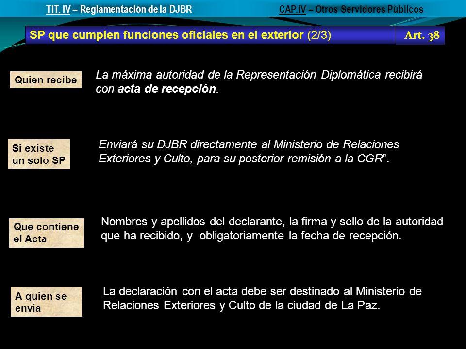 TIT. IV – Reglamentación de la DJBR CAP.IV – Otros Servidores Públicos