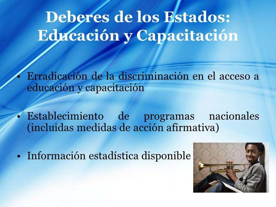 Deberes de los Estados: Educación y Capacitación