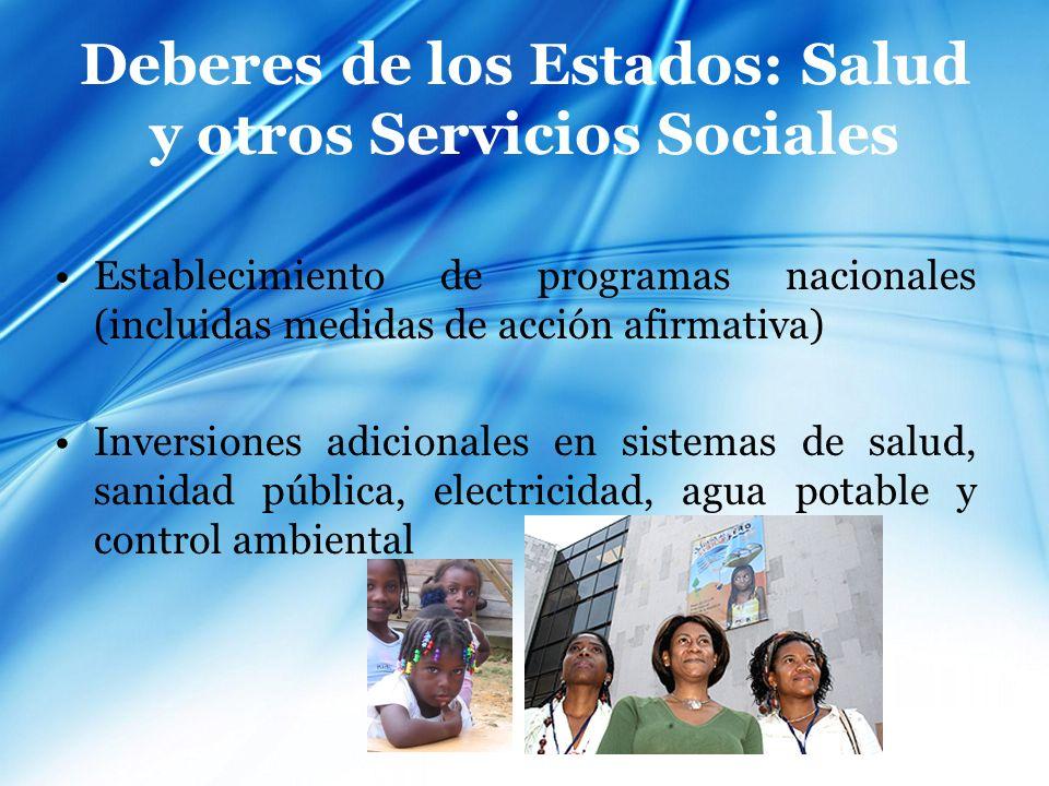 Deberes de los Estados: Salud y otros Servicios Sociales