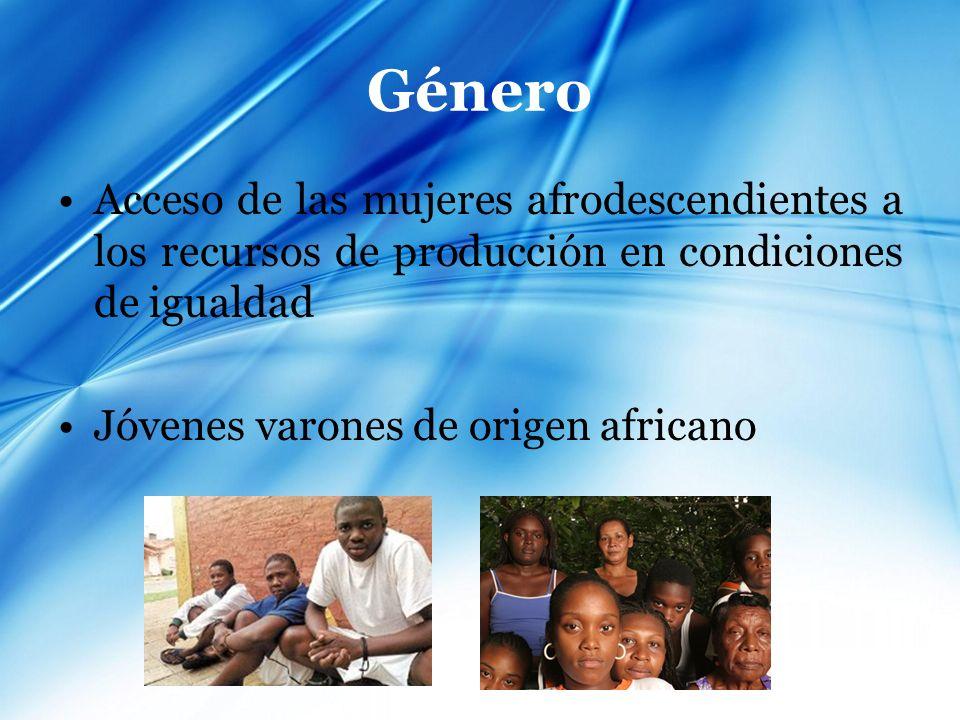 GéneroAcceso de las mujeres afrodescendientes a los recursos de producción en condiciones de igualdad.