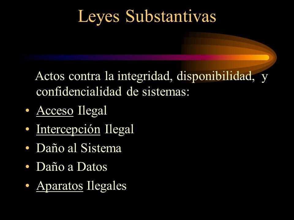 Leyes Substantivas Actos contra la integridad, disponibilidad, y confidencialidad de sistemas: Acceso Ilegal.