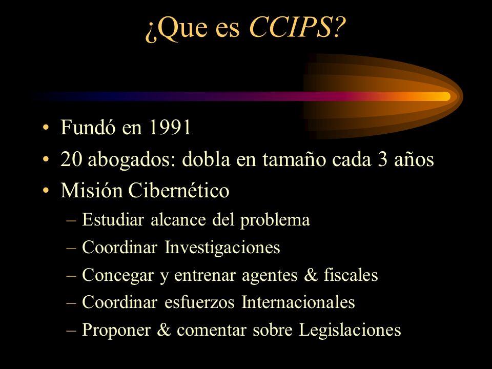 ¿Que es CCIPS Fundó en 1991 20 abogados: dobla en tamaño cada 3 años