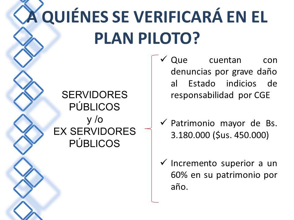 A QUIÉNES SE VERIFICARÁ EN EL PLAN PILOTO