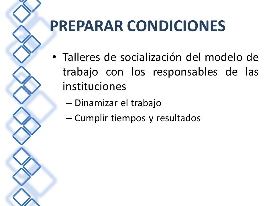 PREPARAR CONDICIONES Talleres de socialización del modelo de trabajo con los responsables de las instituciones.
