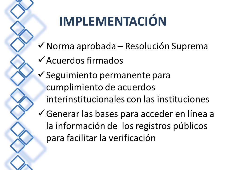 IMPLEMENTACIÓN Norma aprobada – Resolución Suprema Acuerdos firmados